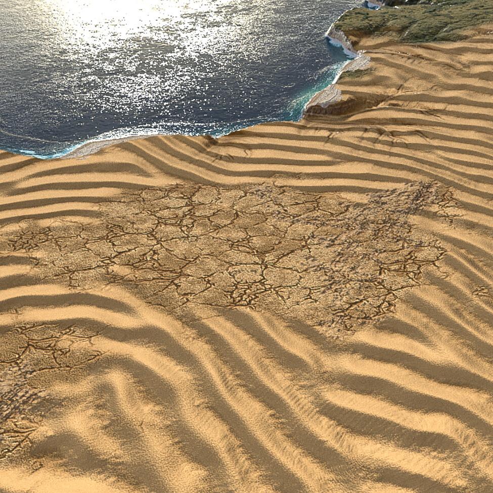 sandy desert with mud cracks