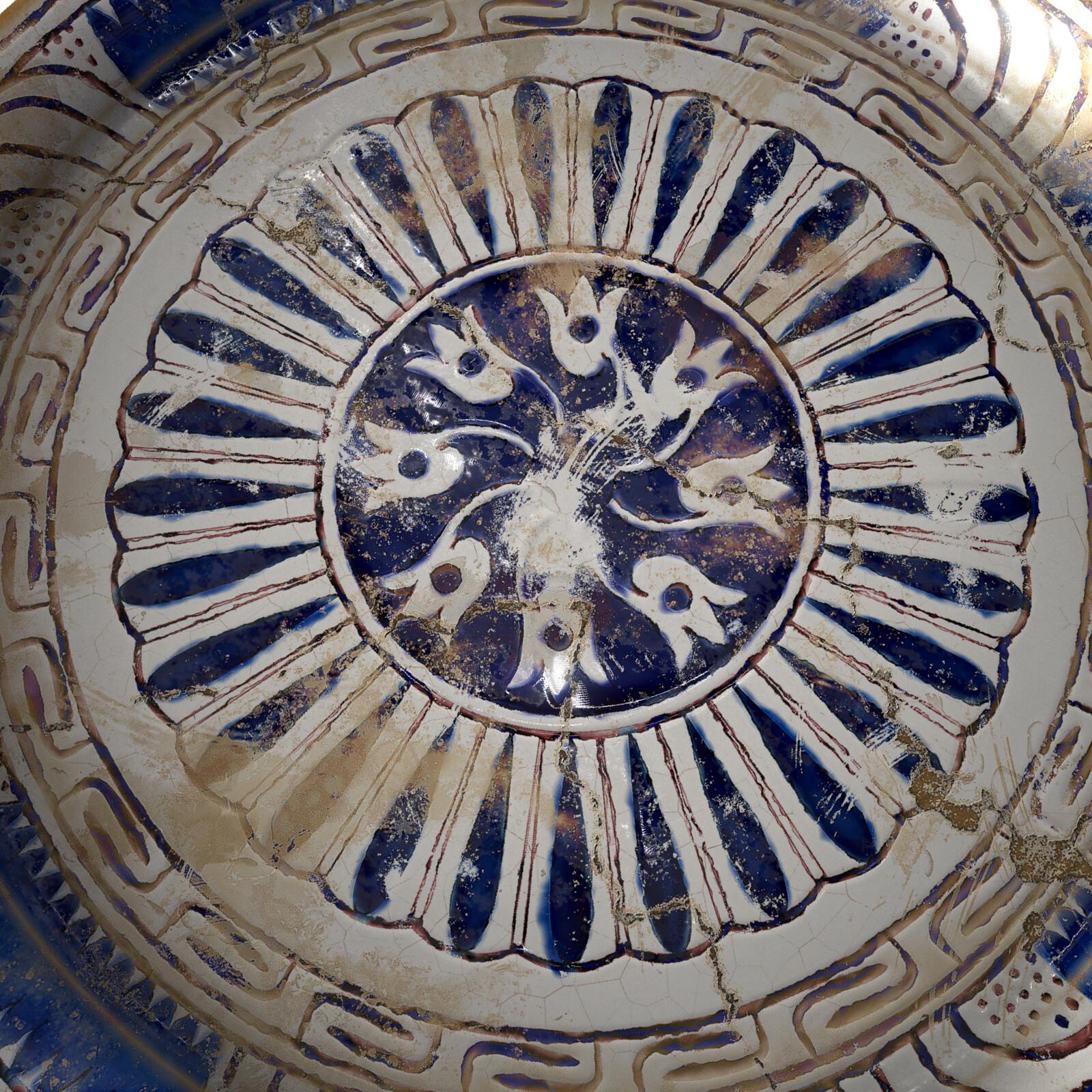 Milet period ceramic dish, iRay Render