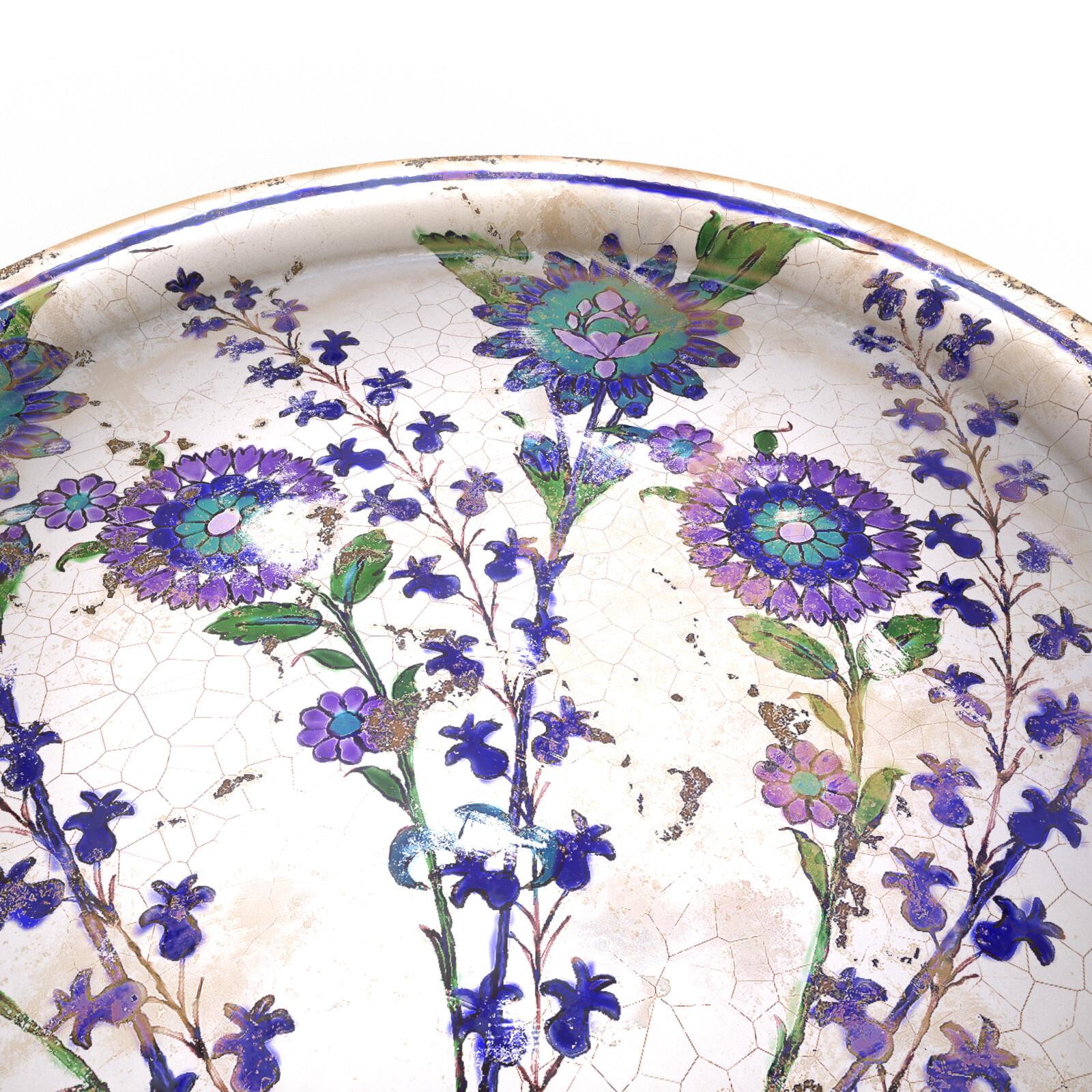 Damascus style ceramic dish, iRay Render