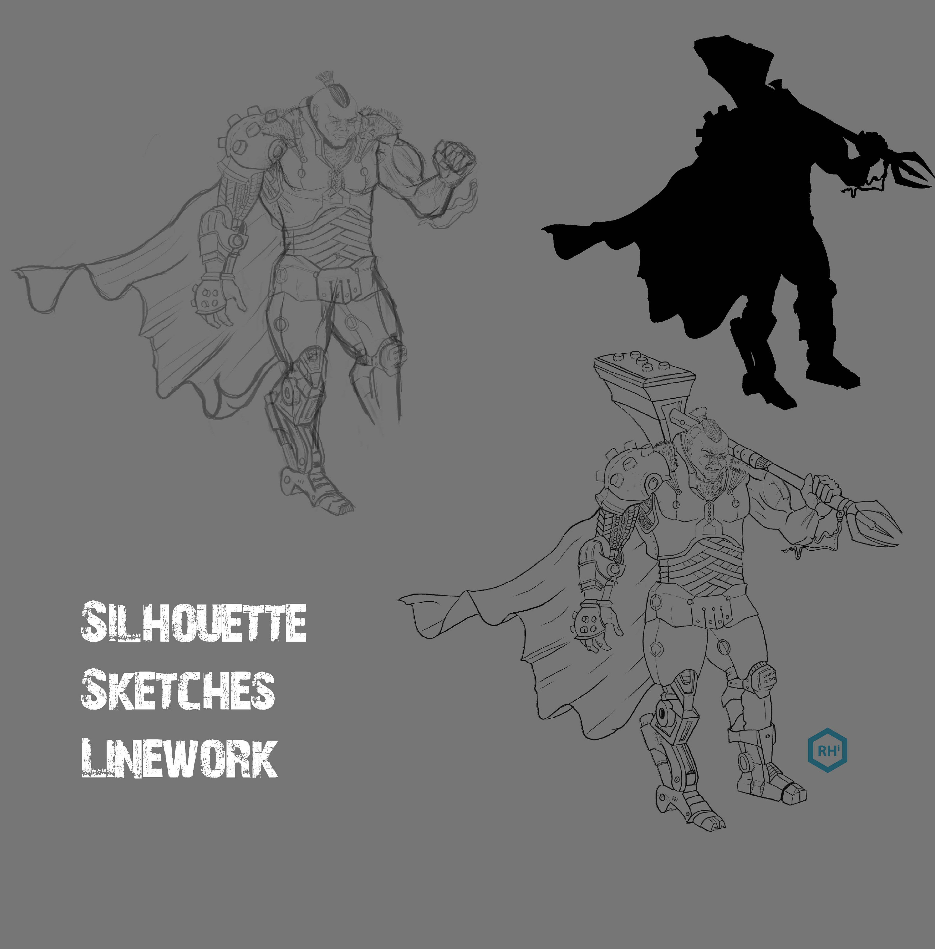 Silhouette, Sketches and Linework to start.