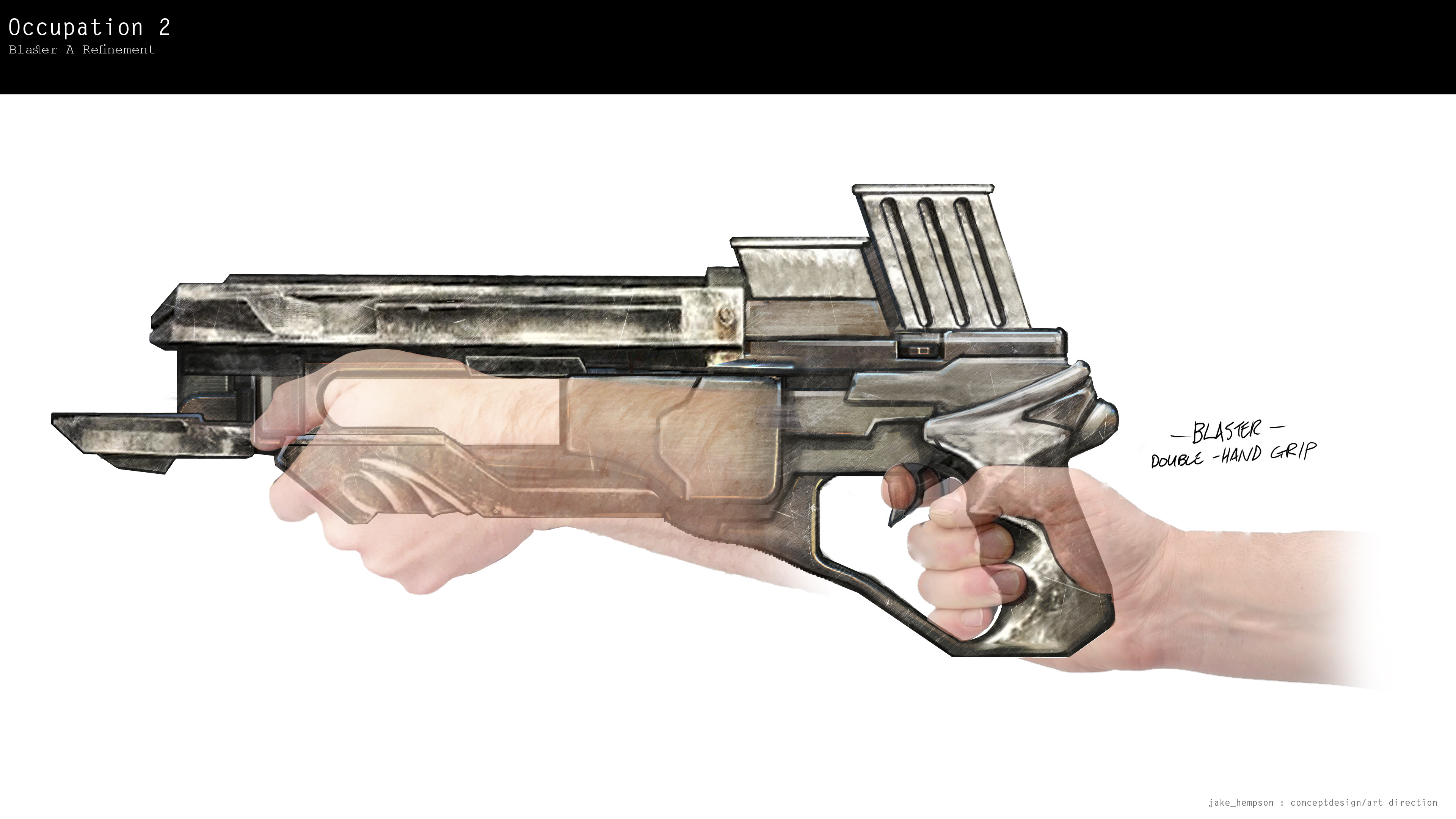 Blaster grip position (ha! - the actress never held it this way )