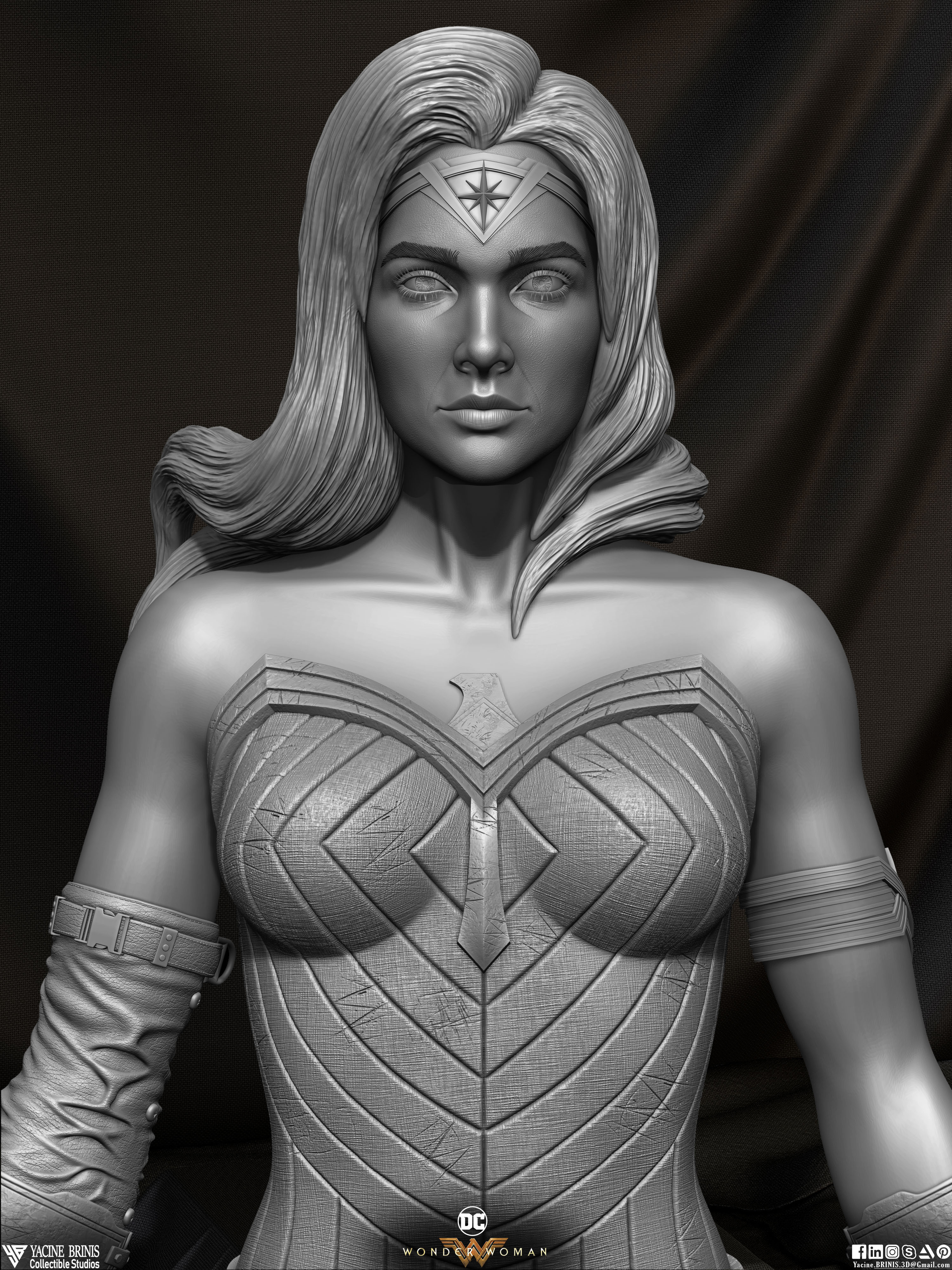 Wonder Woman ZBrush Version, Personal Project (Sculpted By Yacine BRINIS) Set 04