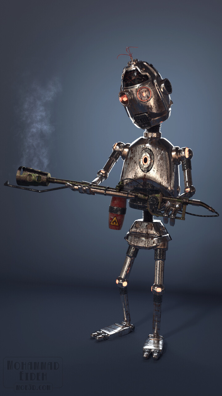 Flamedroid. A fully-rigged old rusty robot, and a Flamethrower ready to fire.