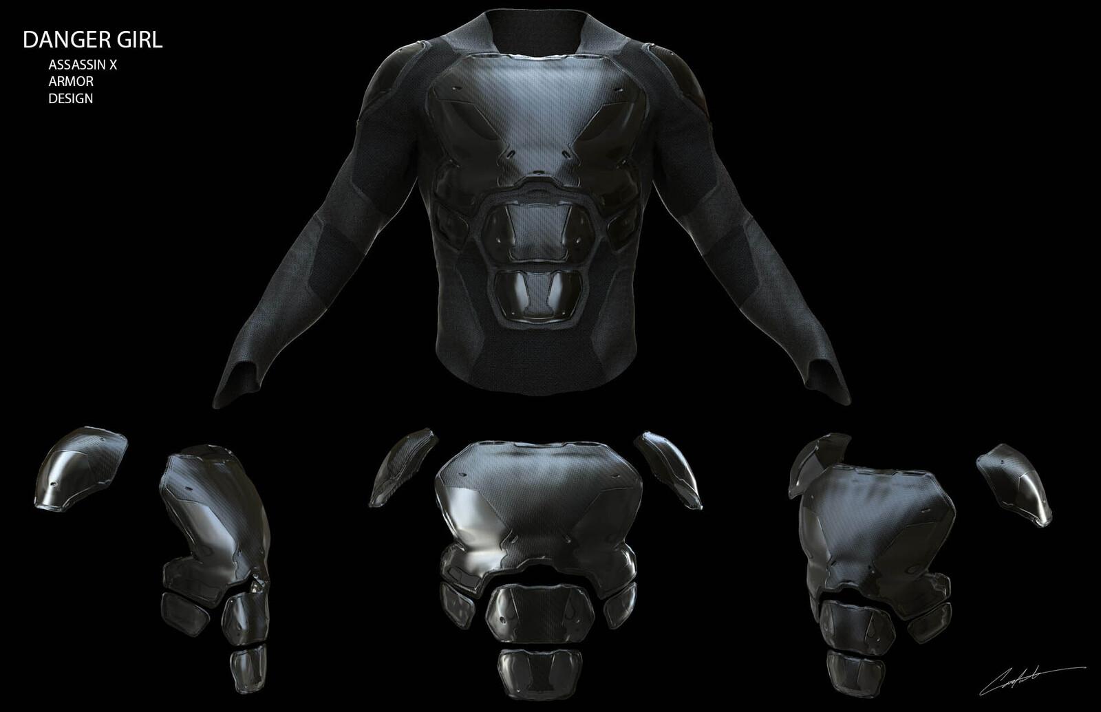 """Danger Girl """"Assissin X"""" Armor design"""
