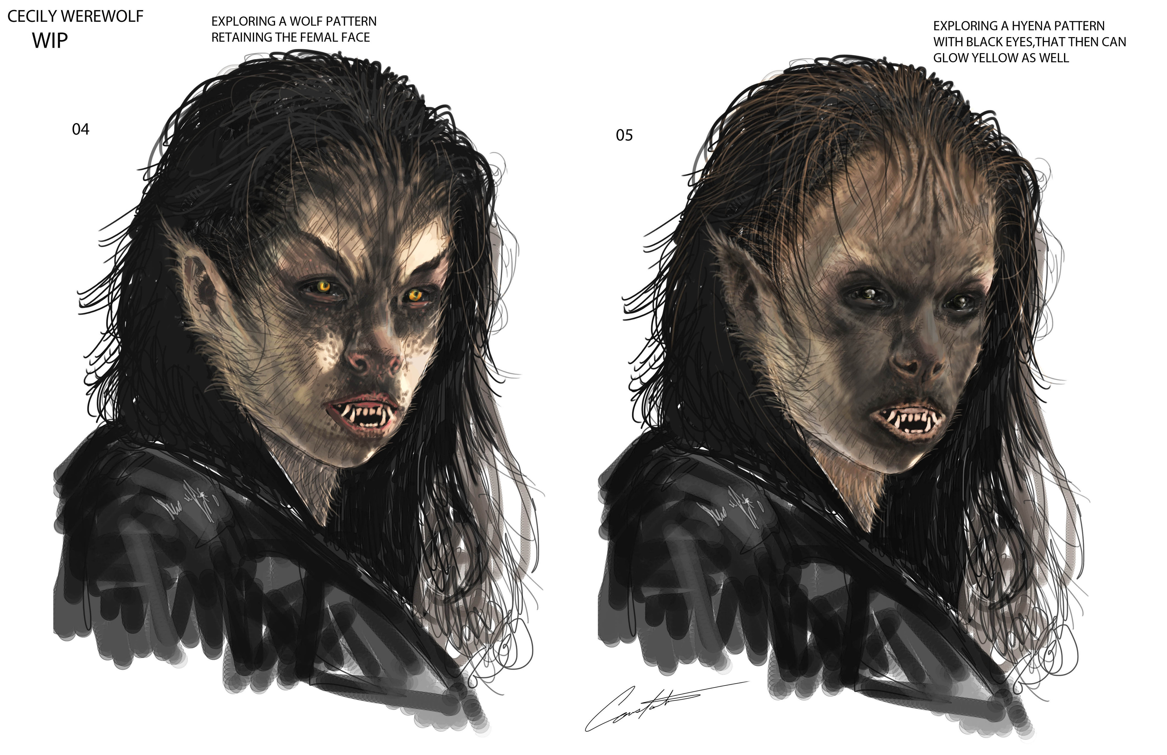Werewolves Within Cecily exploration roughs