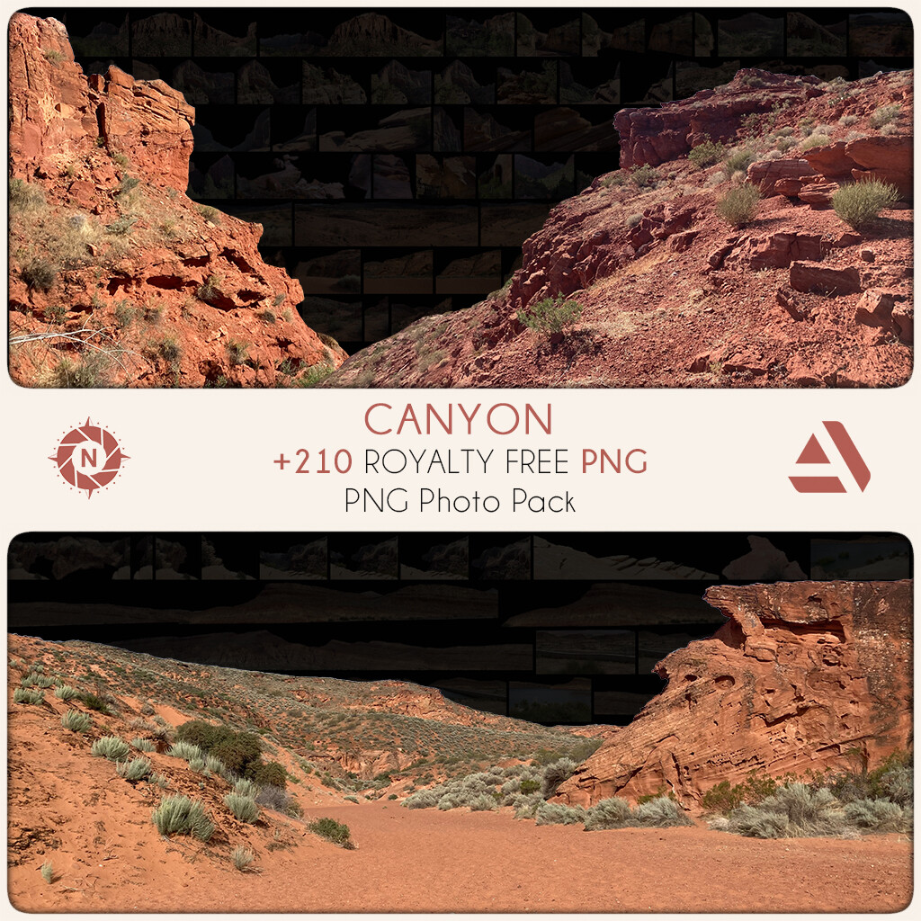 PNG Photo Pack: Canyon + original photos  https://www.artstation.com/a/7296218