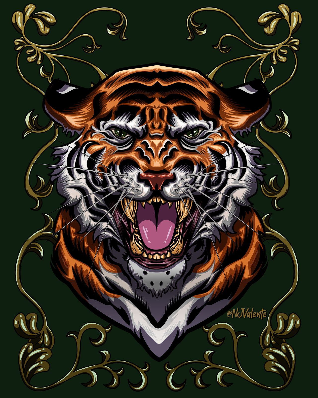 Tiger with Gold scrolls