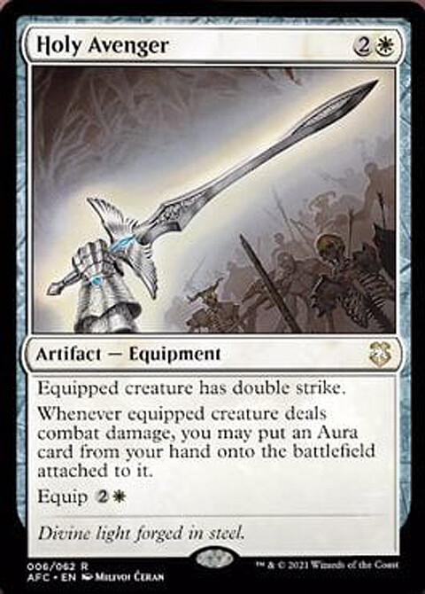 """""""Holy Avenger"""" released card - AD Andrew Vallas - Magic the Gathering, """"Adventures in the Forgotten Realms Commander"""" set, release July 2021"""