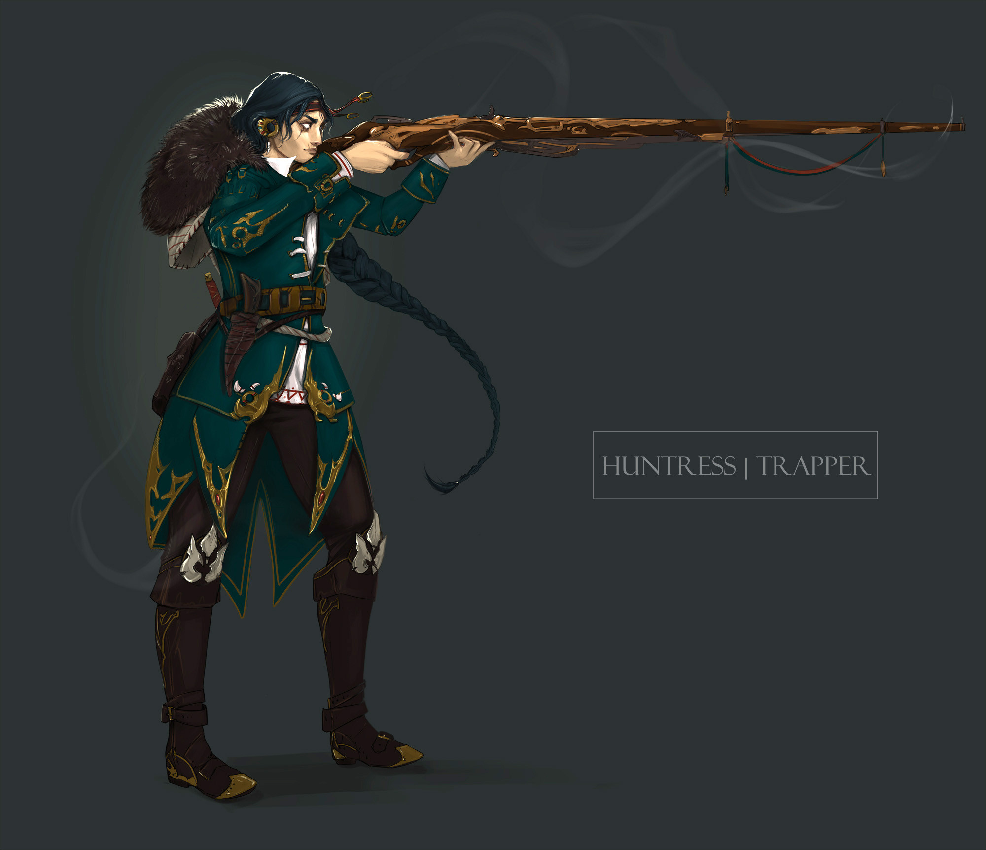 The Huntress is no longer the protagonist of this story! But I liked her design enough to keep it so I can refine it later.  She was inspired by the melding of Russian imperialism and old Altai tribes which populate Eastern Russia.