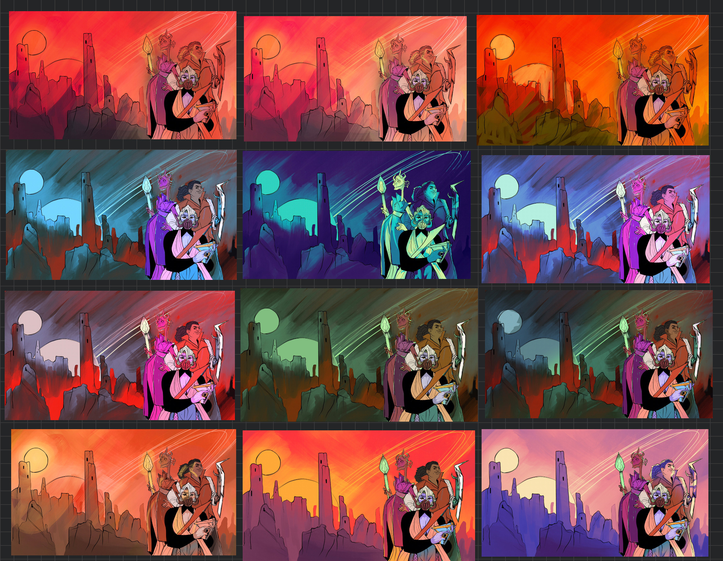 I did a LOT of color comps before settling. Here's some of the many ideas I had!