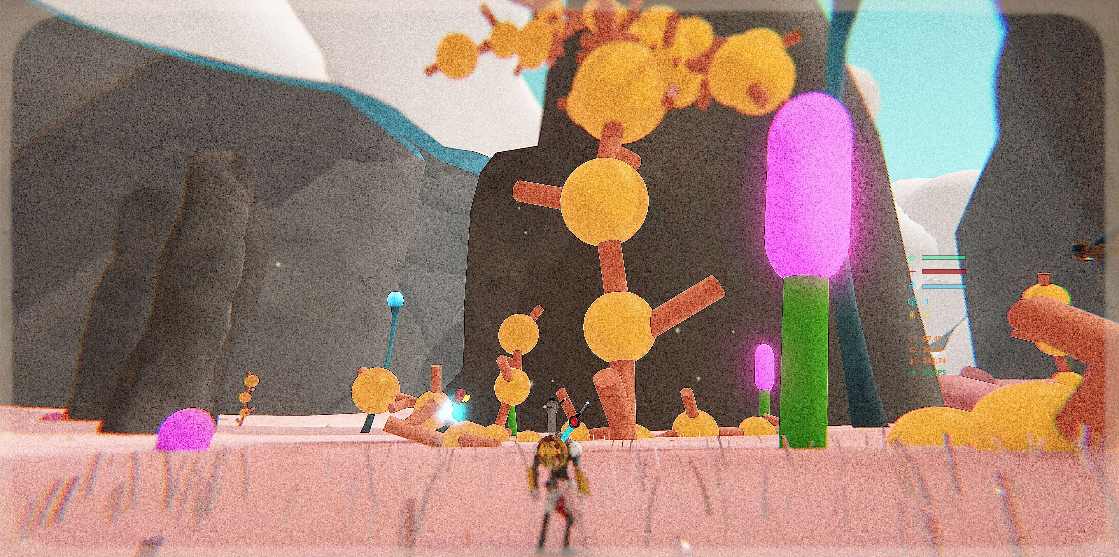 The yellow structures are plants.  You can shoot your grow gun at them to add to the plant.  You can then use those plants for platforming.  Yellow plants are taller.  Blue plants are bouncy.
