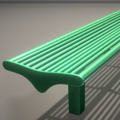 Dennis haupt 3dhaupt bench 5 low poly green painted metal 2 by 3dhaupt made in blender 3d 1