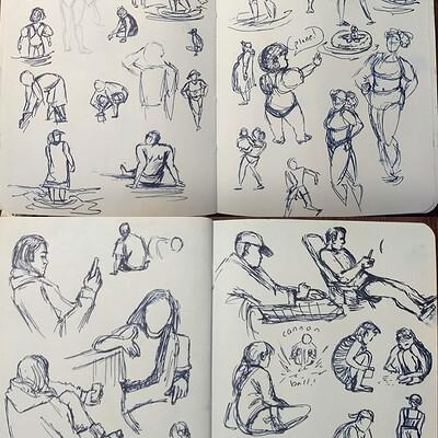 Jadethest0ne beach sketches people