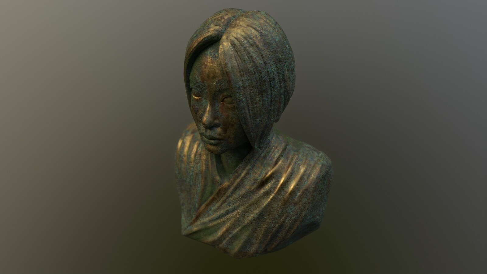 Aya Ueto bust. First experiment with texturing in Marmoset.