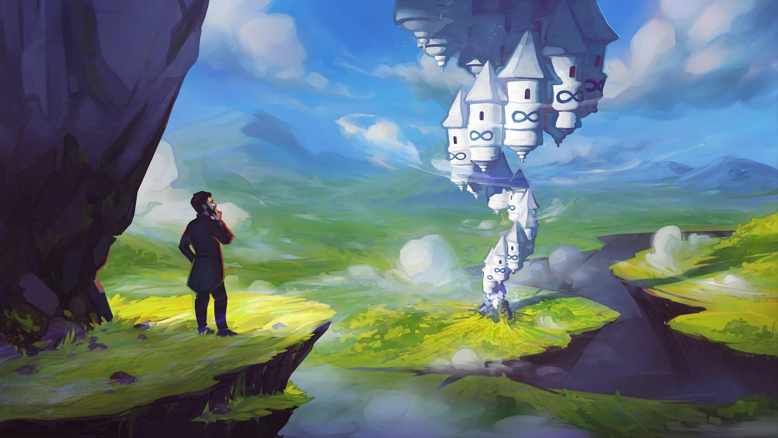 Tower of Infinities • Math / Fantasy Illustration