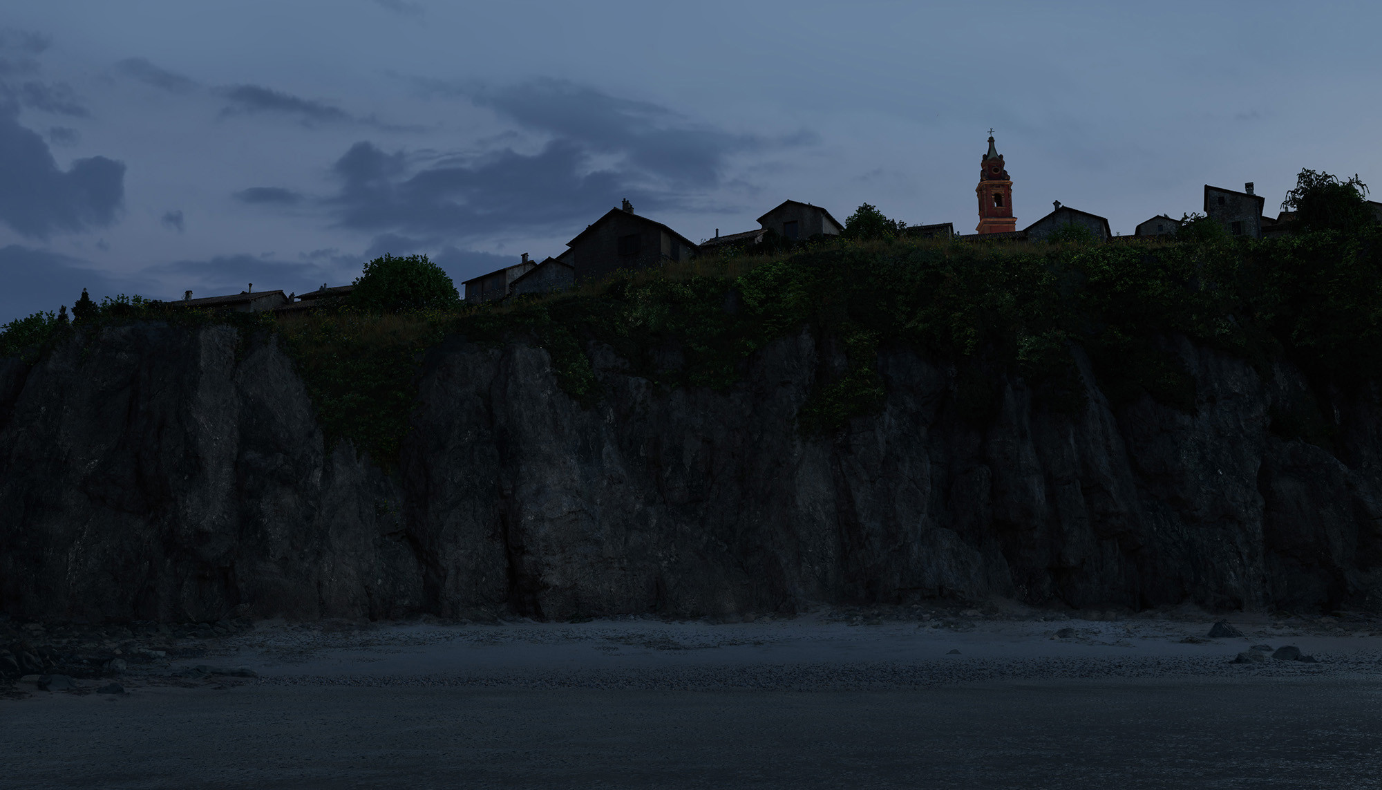 Italian town, view from the beach, matte painting. Cliffs texturing/replacement, beach dressing up and texturing, vegetation, buildings dirt and texturing pass, church detailing, sky