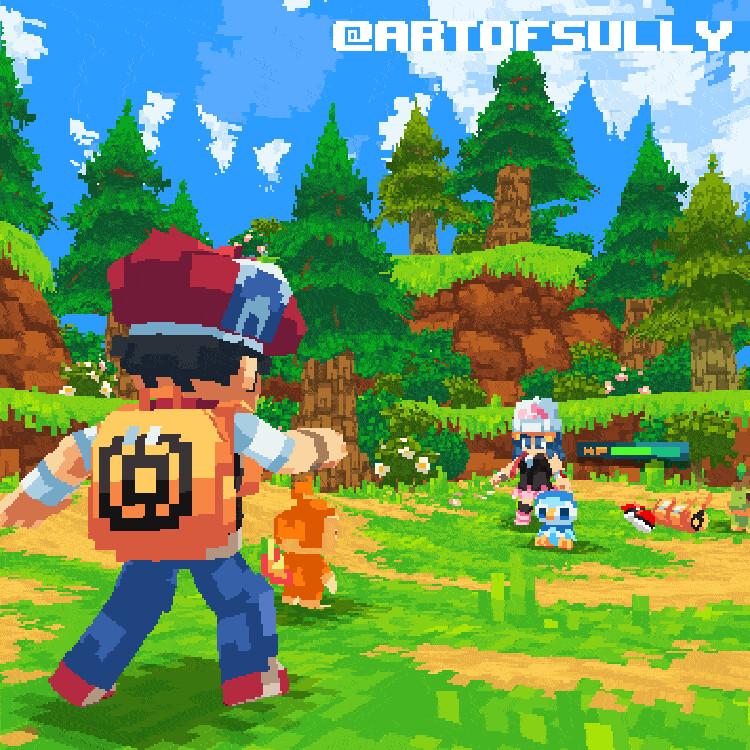 Pokémon Fan Art - Sinnoh Battle (Lucas Focus)