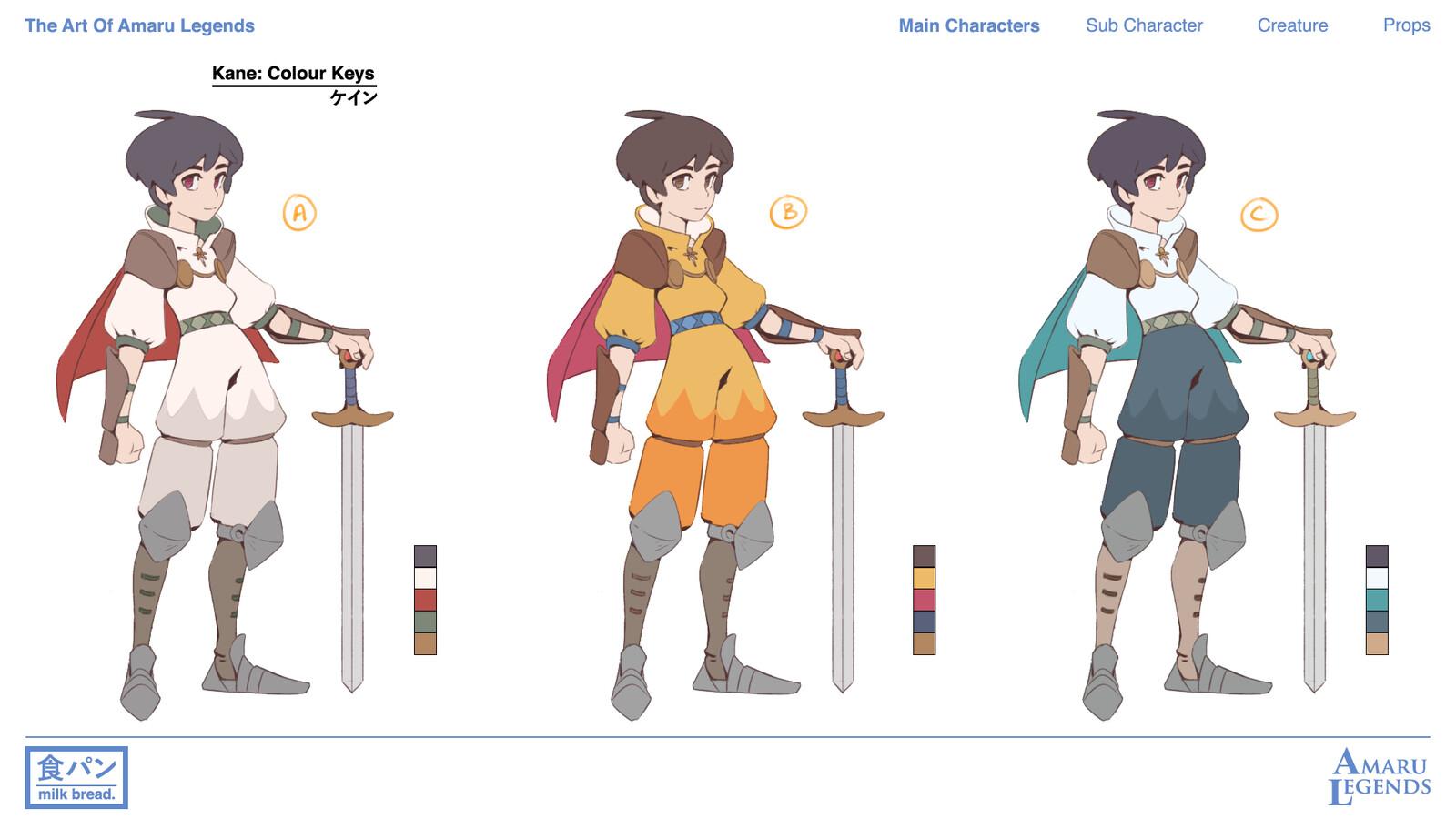 Colour Keys for Main Protagonist