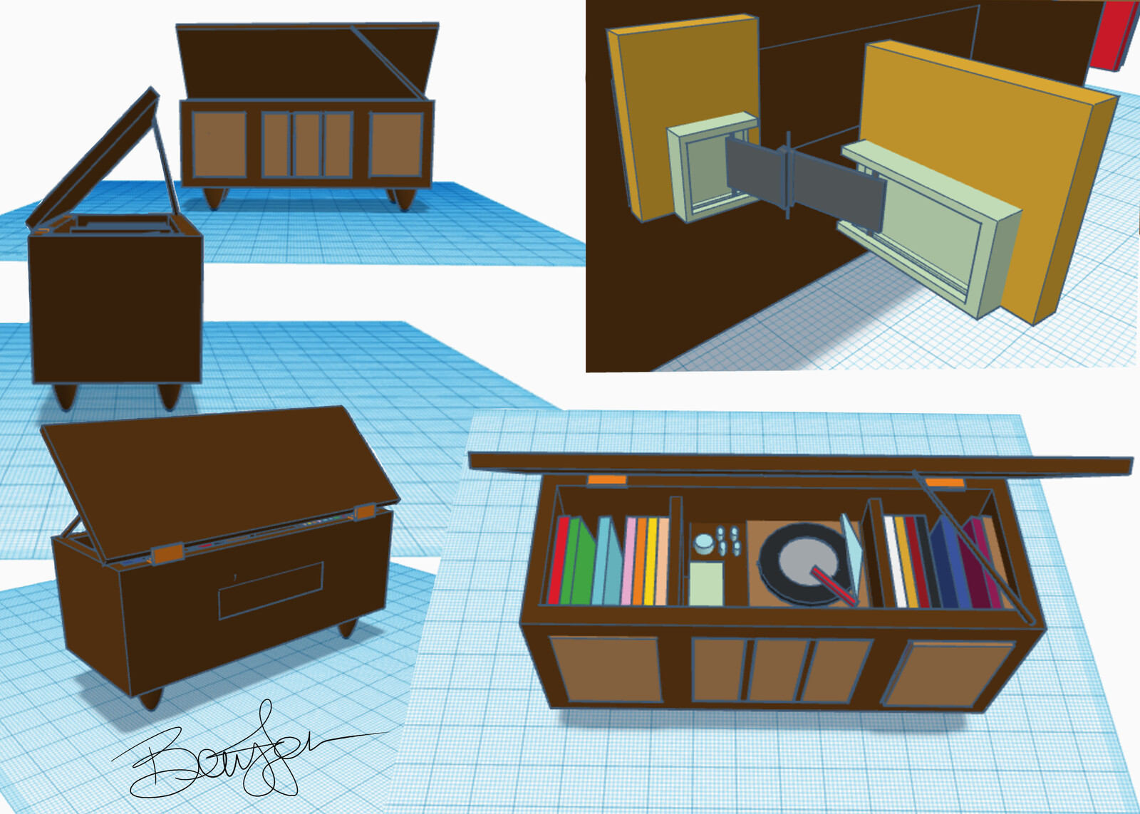 70's Record Cabinet and inlet cabinet hinge model