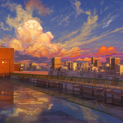 Arseniy chebynkin school roof sunset