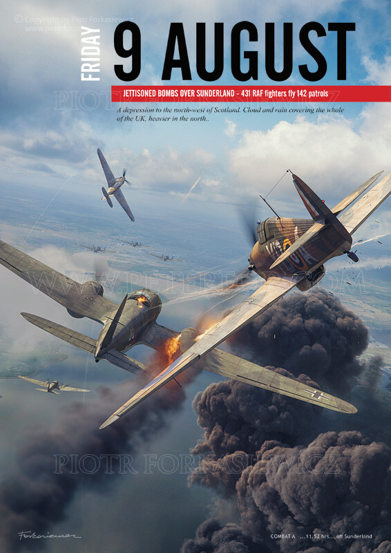 Chapter Illustration in exemplary page layout - shows dogfight over bombed oil tanks at Thames Estuary. Hurricane and Heinkel models by Wojciech Niewęgłowski. Textures, Scene & Illustration by Piotr Forkasiewicz