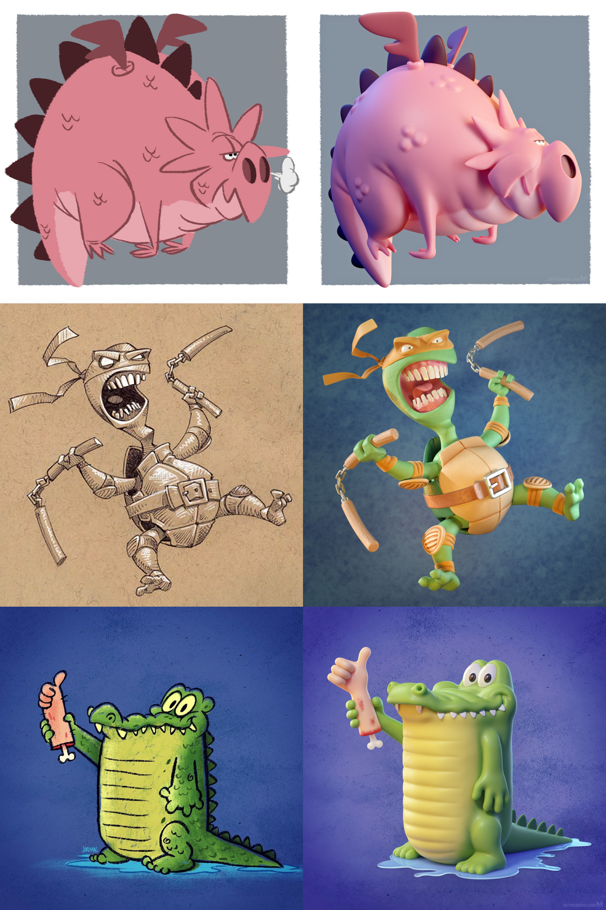 A side-by-side display of the drawn inspiration and my 3D interpretations | Credits for the sketches can be found throughout this page
