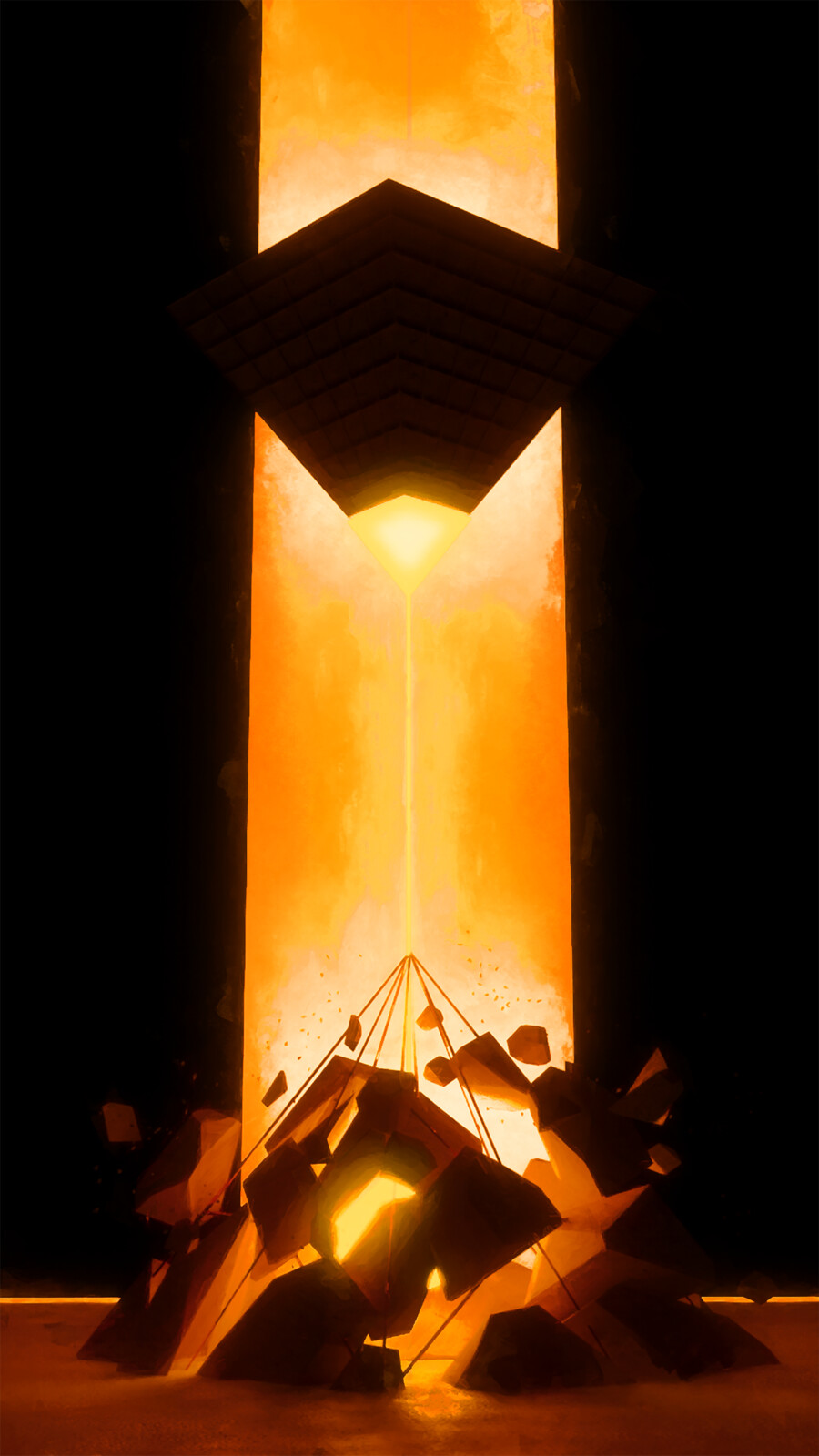 Title: Destruction  Description: A pyramid blasts another shattering it in pieces