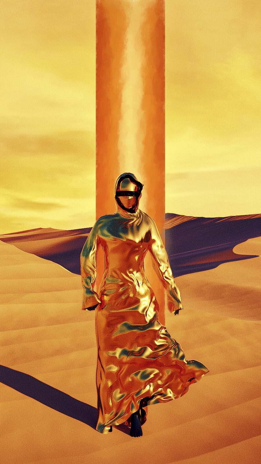 Title: Journey  Description: A Bedouin woman in a Golden abaya Walks through the Dunes