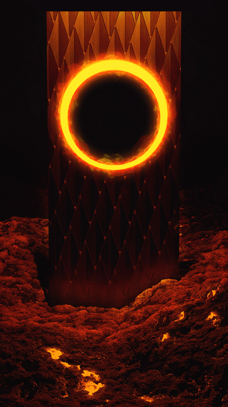 Title: Migration  Description: An obelisk with a glowing hole in it's top stands amongst a rocky landscape