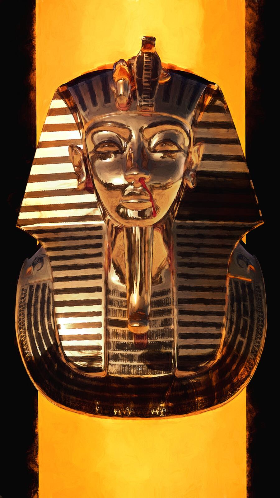 Title: Death Description: The Golden mask of Tutankhamun stares forward while it's nose bleeds.