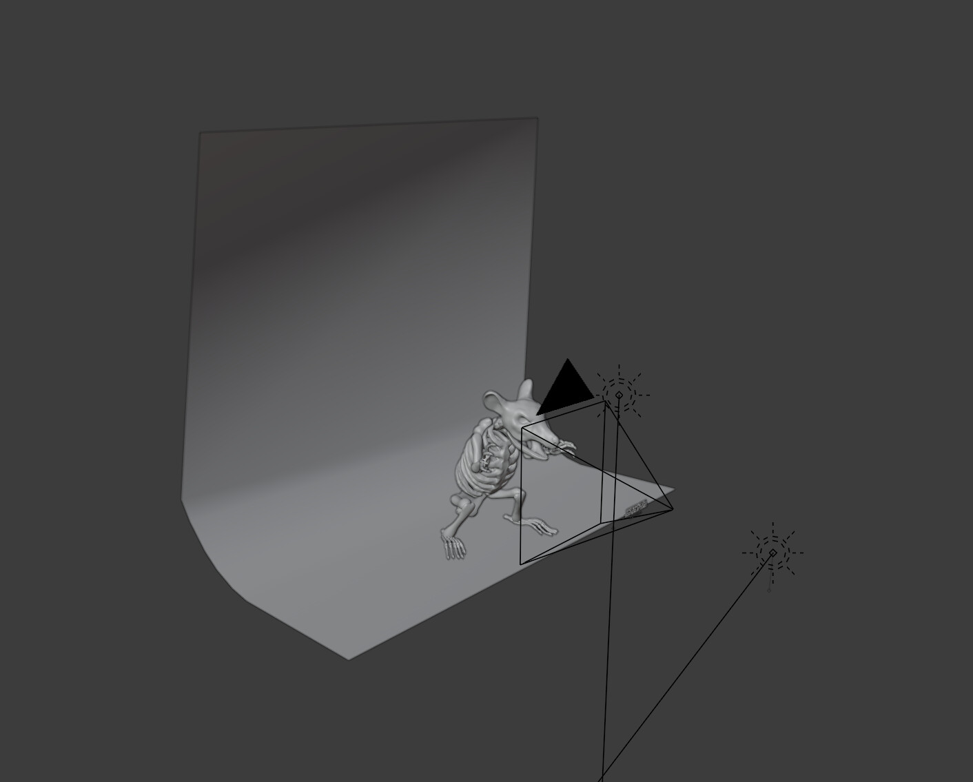 Skeleton model was created in Blender and then rendered on a backdrop in Blender as well.