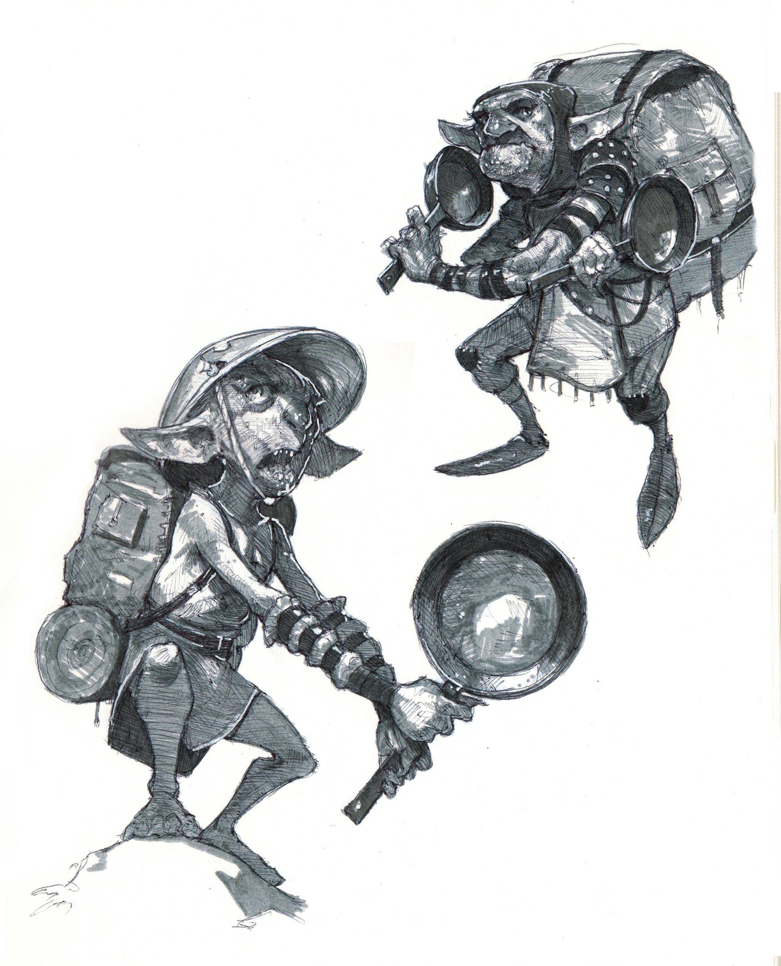 Ink sketches of the goblin, Droop, wielding mighty frying pans (which I've named Surf and Turf)