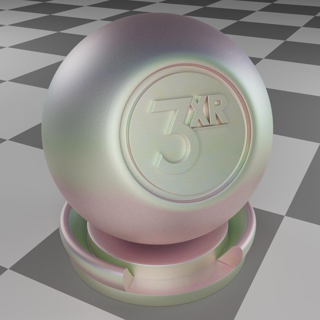 Iridescent procedural material made & rendered in Blender.