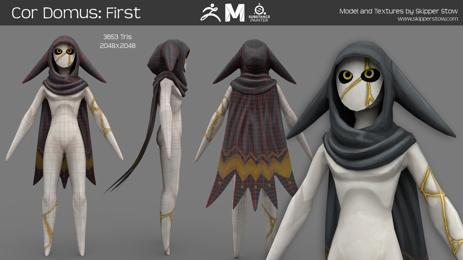 Responsible for: character concept, character modeling, retopo, rig