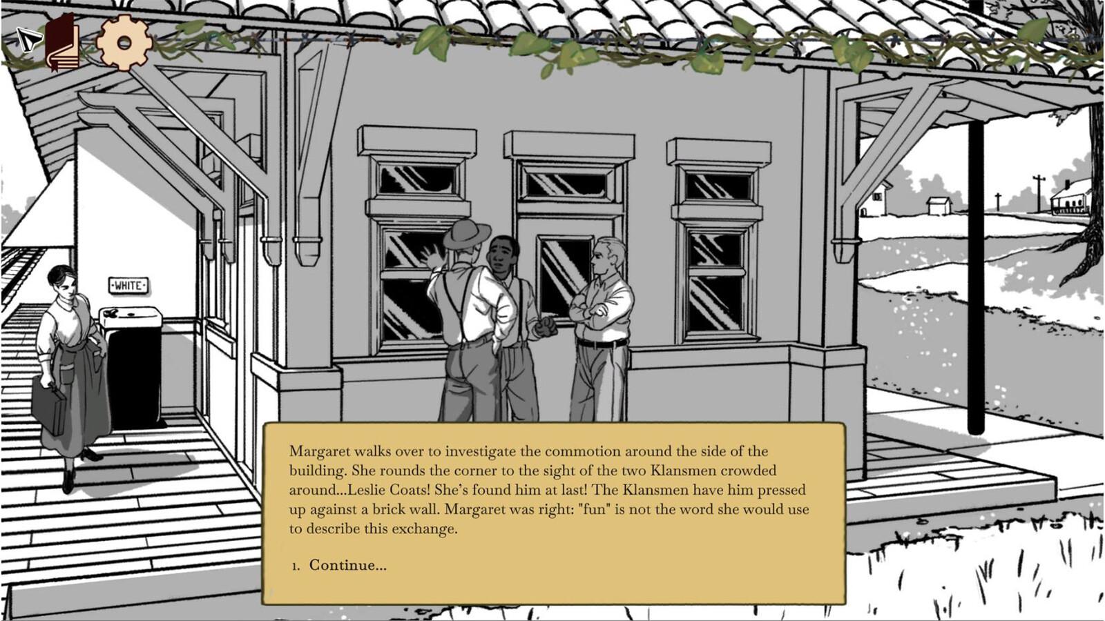 Scene 6 - Margaret finds Leslie at the station, confronted by two Klansmen.
