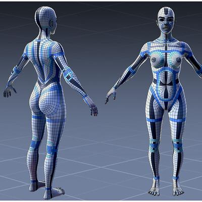 Fabien cazenabe woman anatomy lowpoloy retopology uv cazenabefabien art fcazenabe gmail com 01