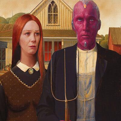 Wanda/Vision as American Gothic