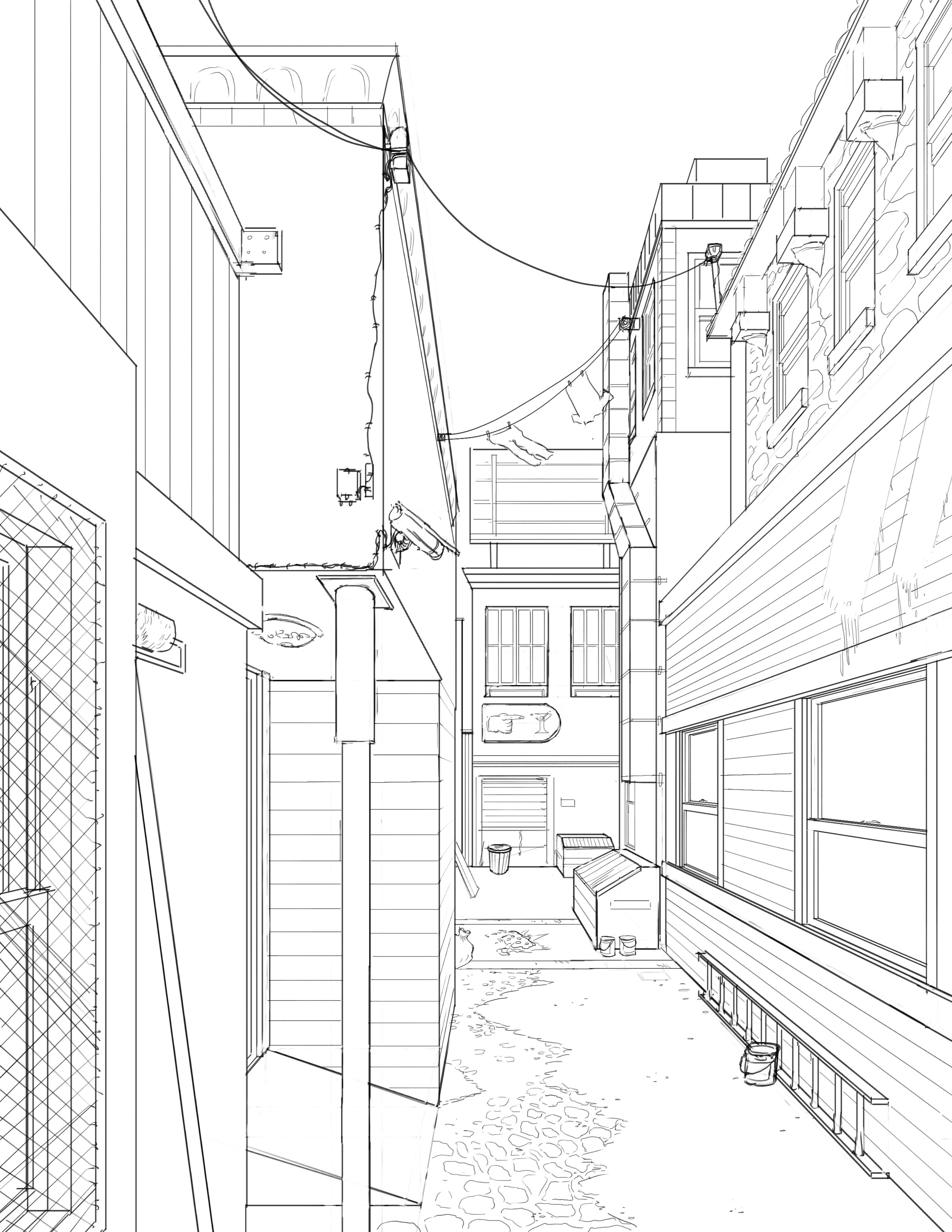 The goal of this illustration was for an assignment about perspective and drawing the linework for an alley of our own design.