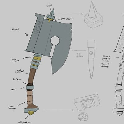 Weapon Modeling Preparation Sketches