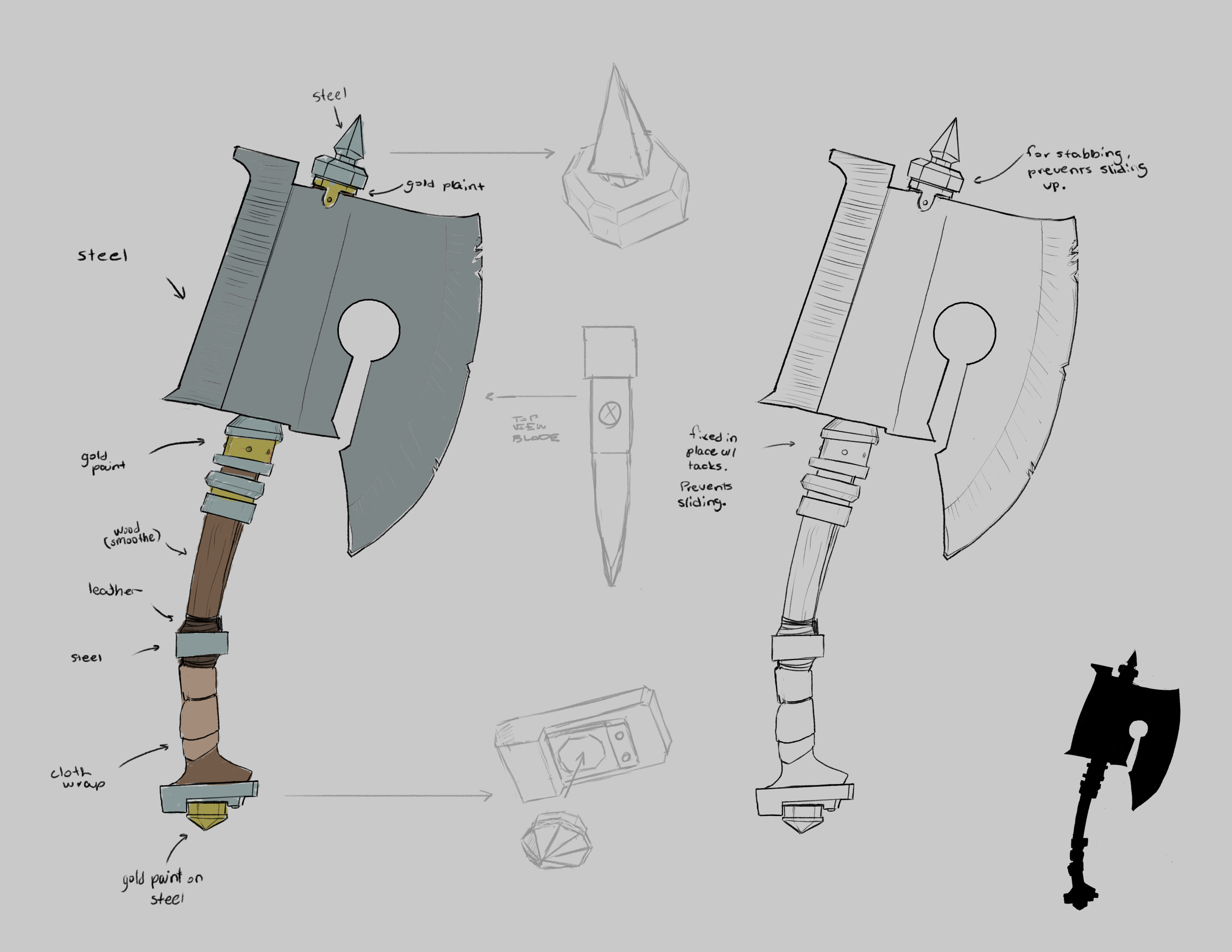 Weapon linework and details sheet that would be used for modeling a cleaving axe.