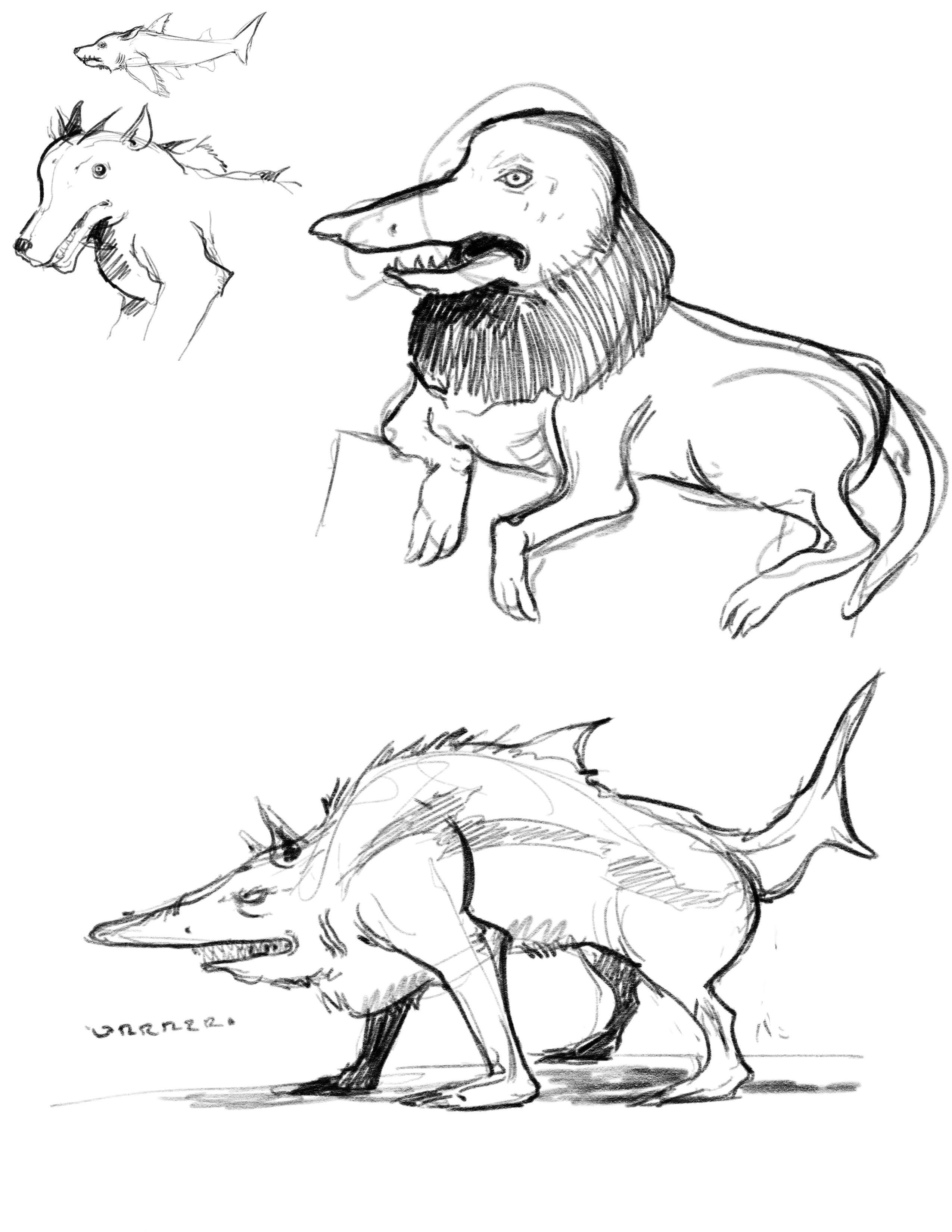 Concept ideation for the Shark Wolf creature character #1.