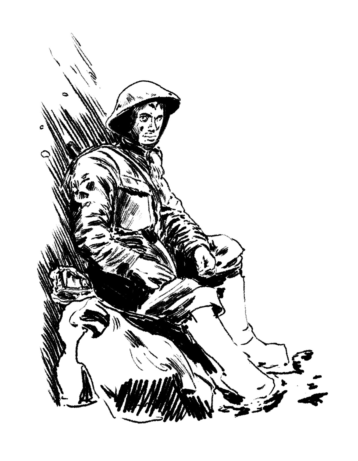 The initial sketch of the character from the reference image of a WW2 soldier resting in a dugout.
