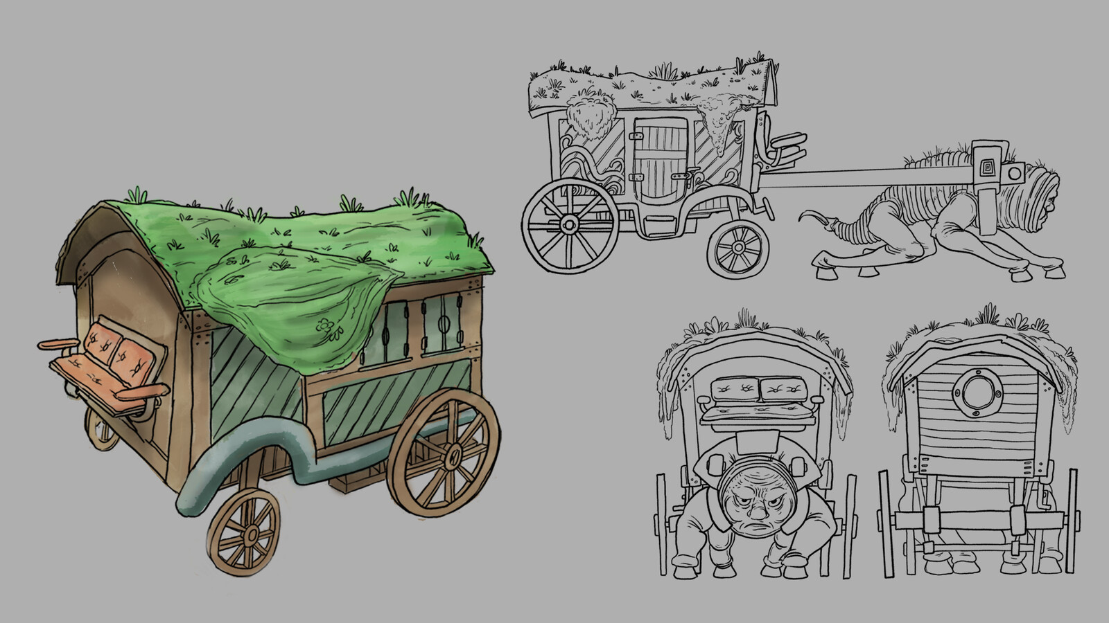 Vehicle that would be pulled by a flat faced variant of the antagonist creature and used by the protagonist character.