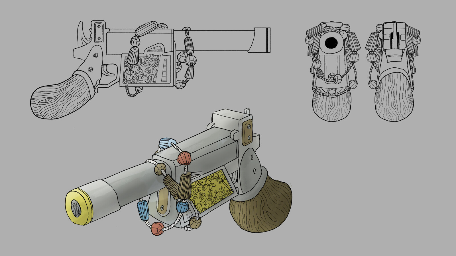Weapon line art illustration for the prop concept along with different directional line art that would be used in the 3d modeling process.