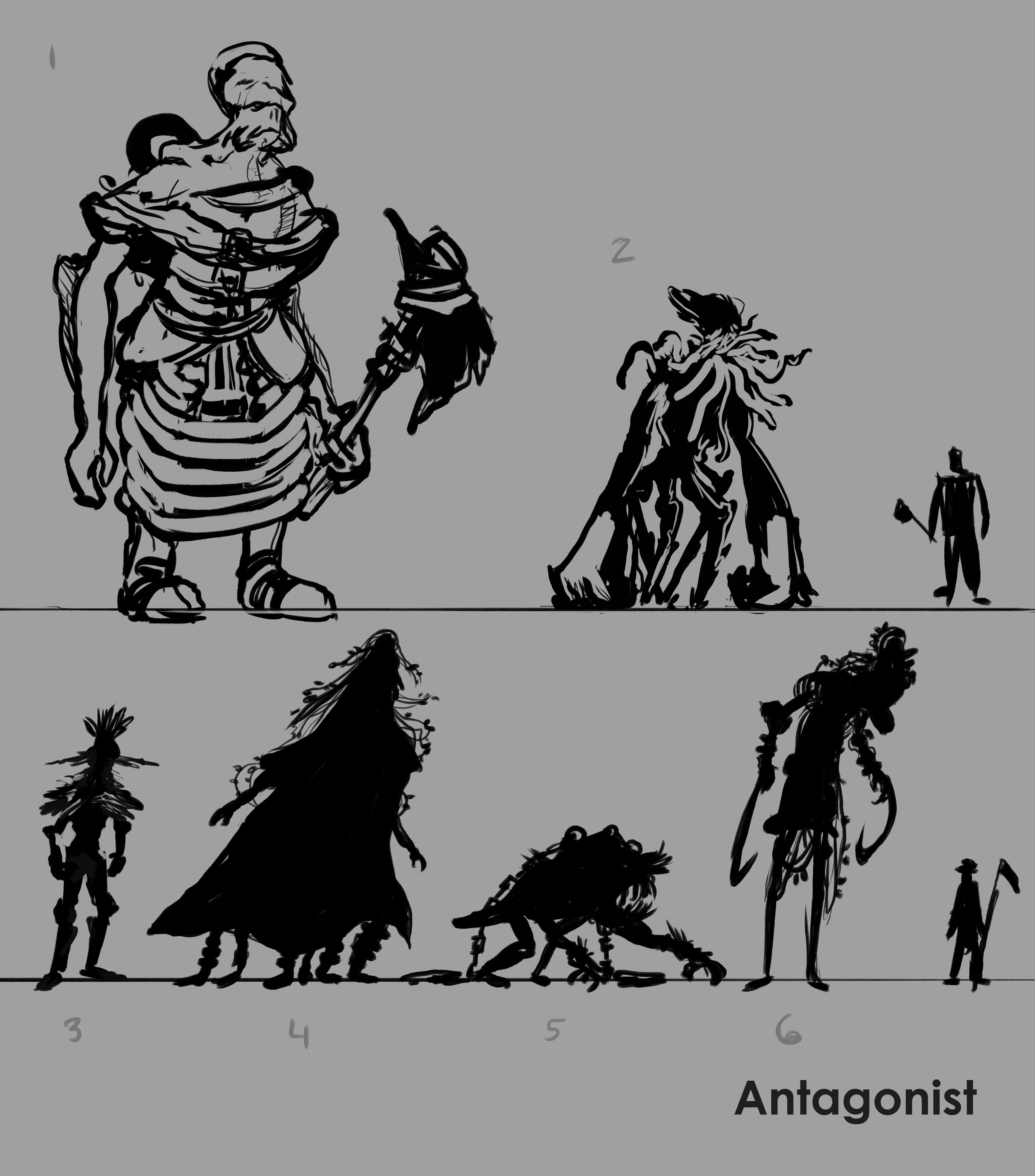 Antagonist/Creature concept sketches and silhouettes.