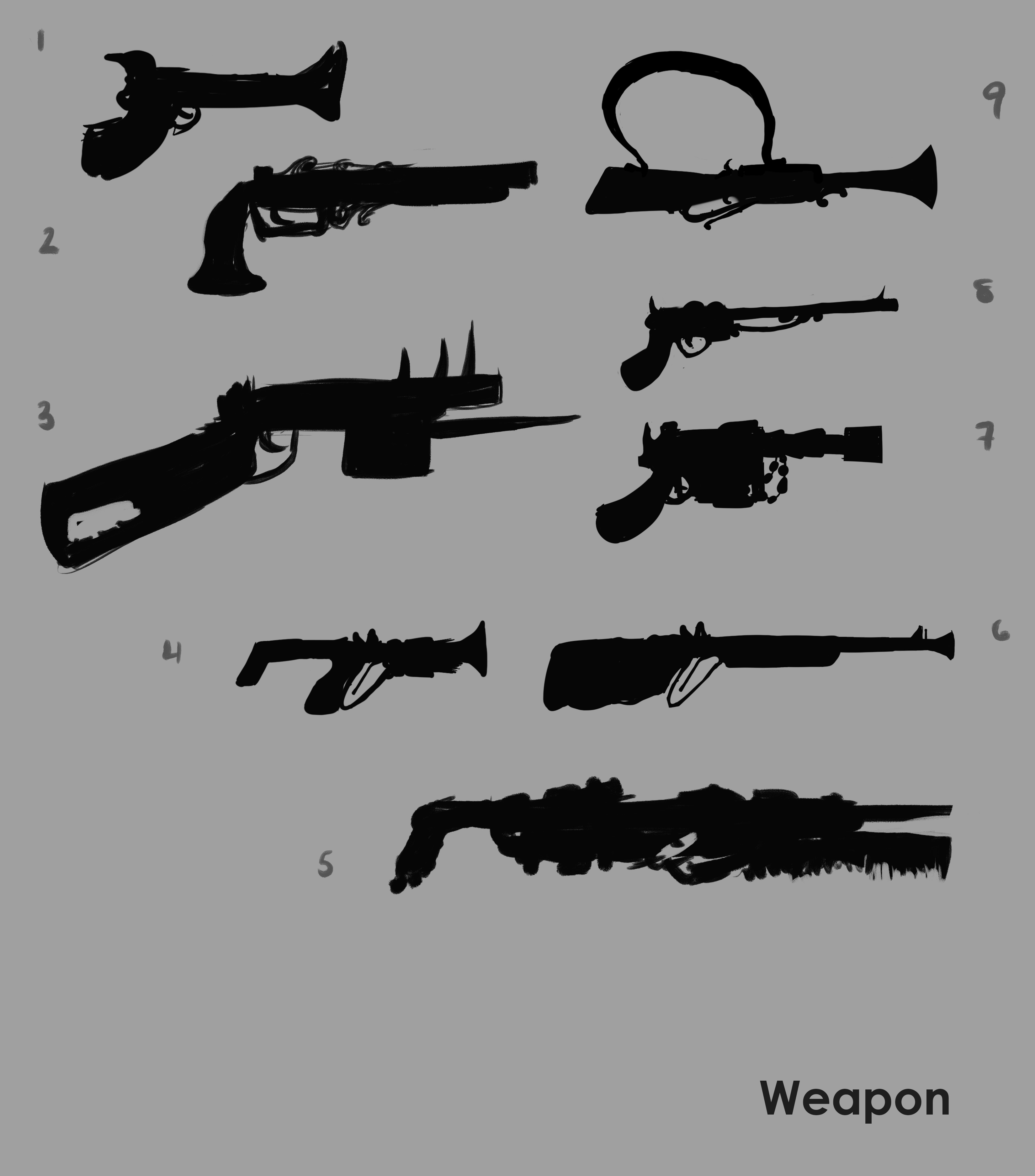 Prop/Weapon silhouette concepts.