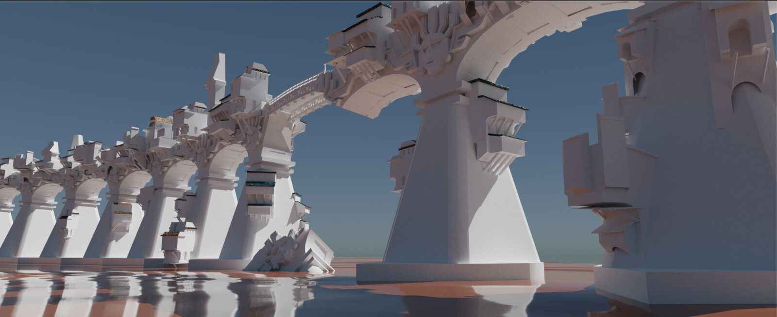 3D sketch for lighting reference and establishing perspective.