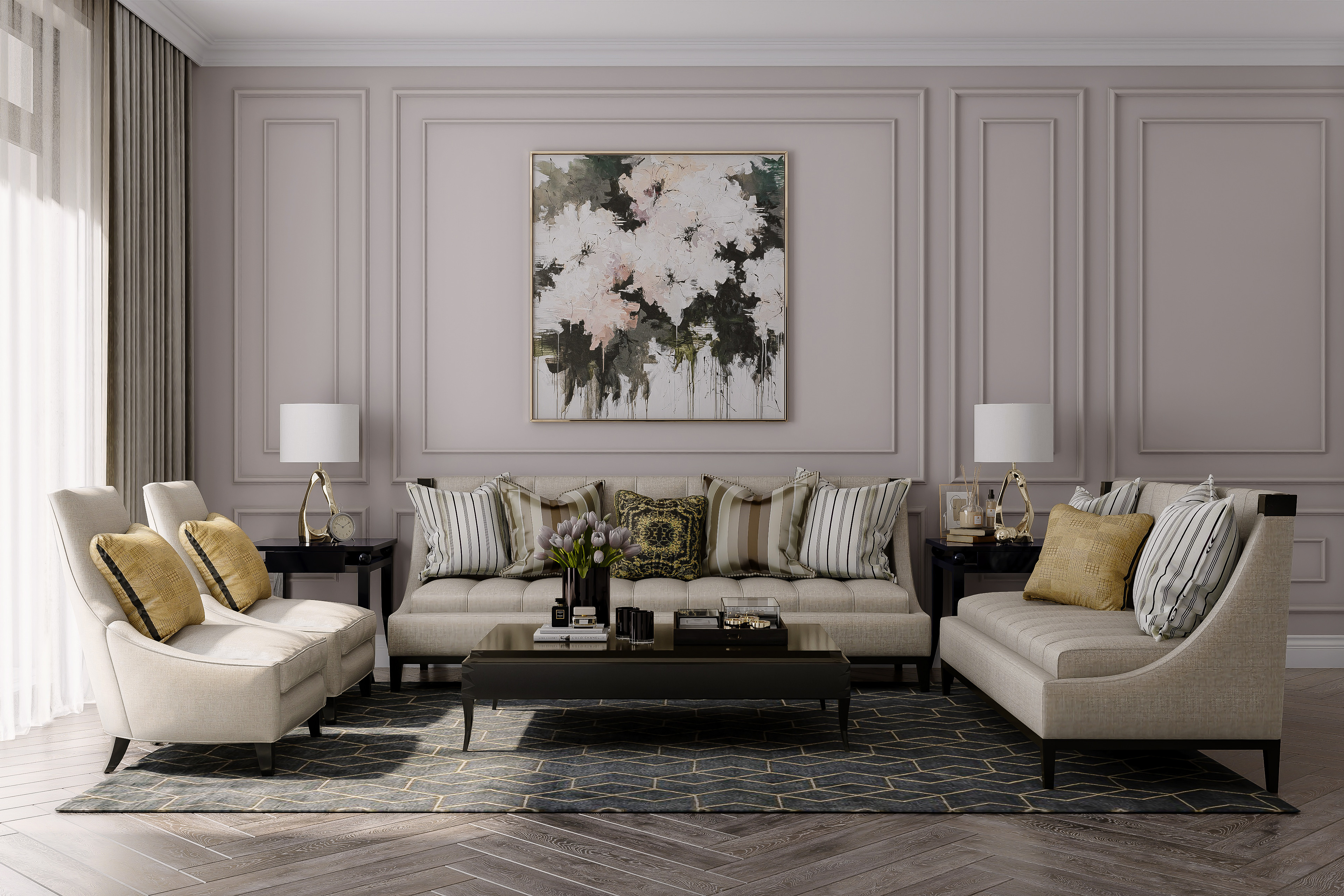Living Room, Mid Day Light Study 3ds Max V-Ray Photoshop Free Asset: 3D Zip Materials and Lighting Rendering Lente Scura 5SRW - Learning V-Ray Method