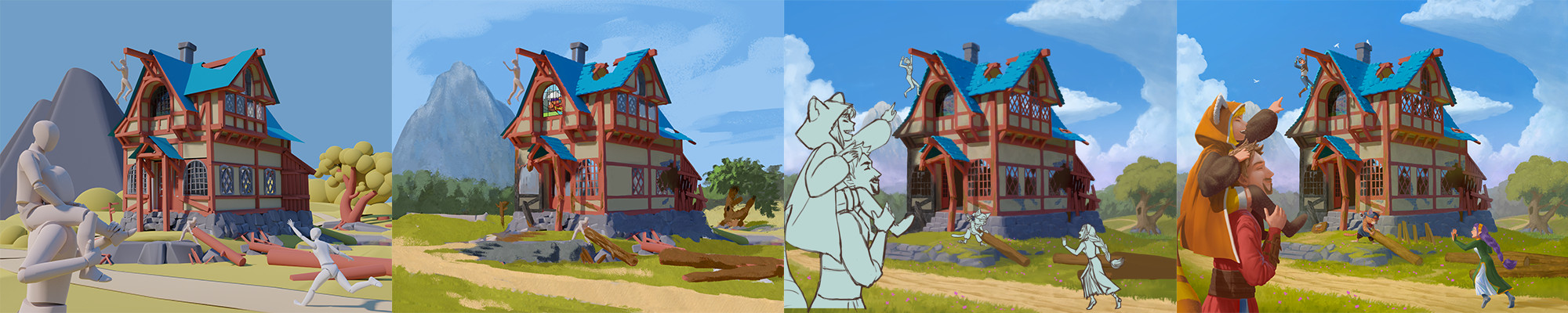 From Gravity Sketch to finished painting. Character line art by Koyo Do