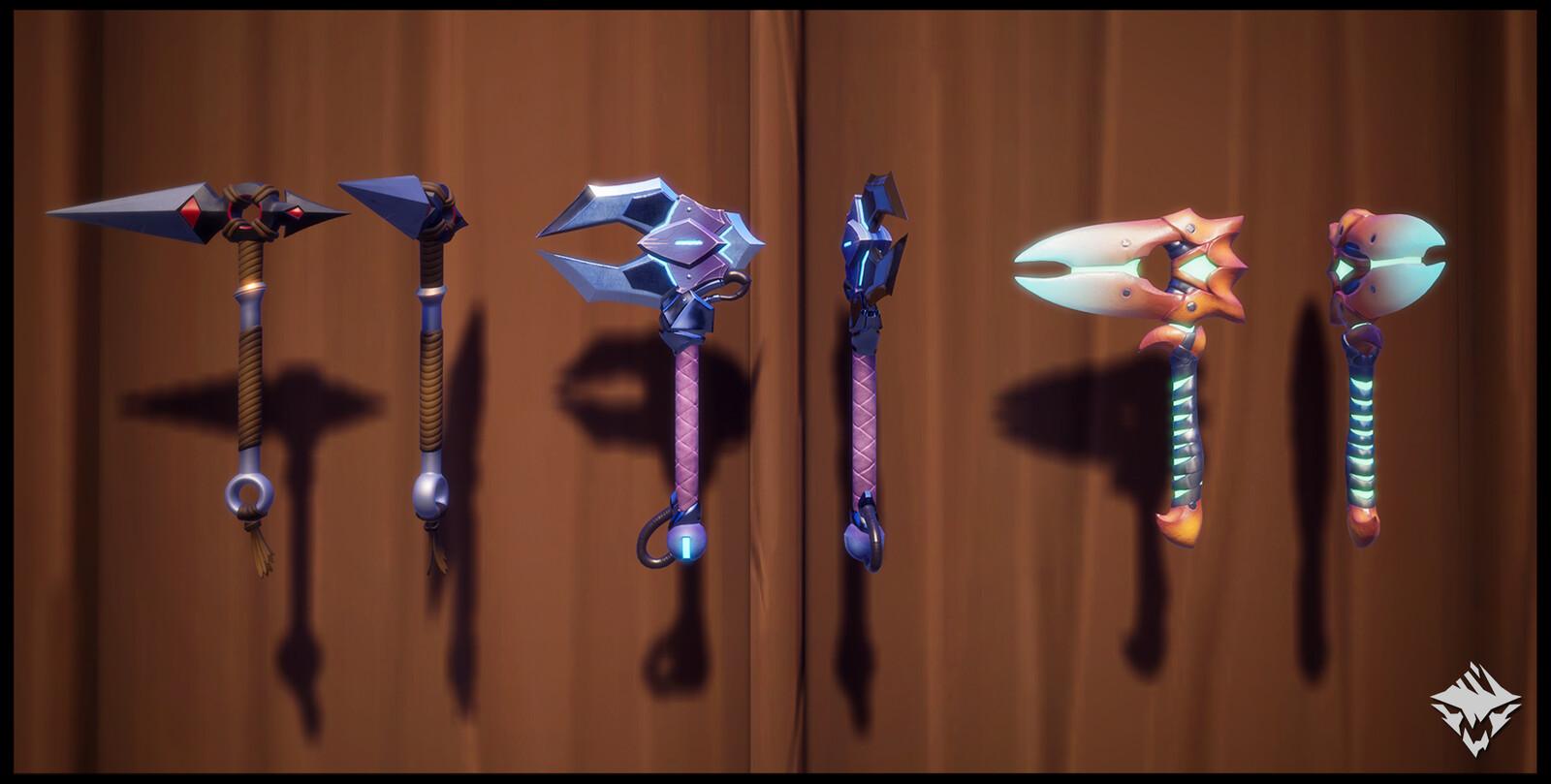 Mortality's Bite (Hunt Pass: Hidden Blades), Pangar's Claws (Craftable), Kharabak's Wings (Craftable)